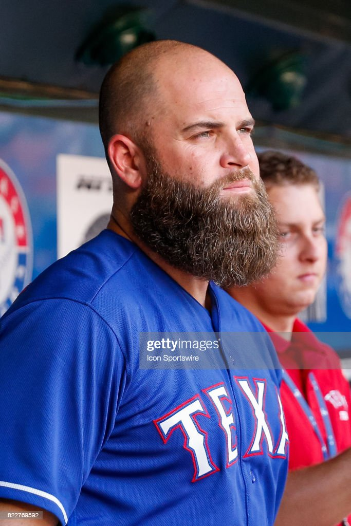 Texas Rangers First base Mike Napoli (5) looks on from the bench prior to the MLB game between the Miami Marlins and Texas Rangers on July 24, 2017 at Globe Life Park in Arlington, TX.