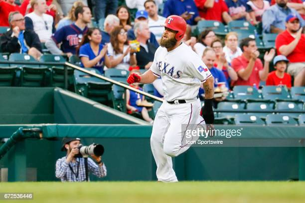 Texas Rangers First base Mike Napoli rounds 3rd base during the MLB game between the Minnesota Twins and Texas Rangers on April 24 2017 at Globe Life...