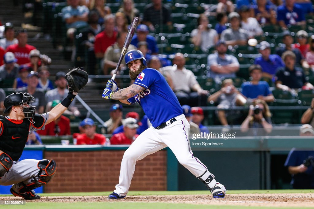 Texas Rangers First base Mike Napoli (5) scrambles to avoid a high pitch during the MLB game between the Miami Marlins and Texas Rangers on July 24, 2017 at Globe Life Park in Arlington, TX. Miami defeats Texas 4-0.