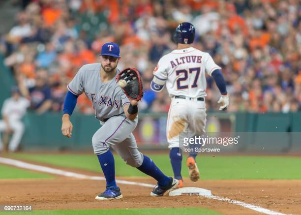 Texas Rangers first baseman Joey Gallo makes an out on Houston Astros second baseman Jose Altuve during the MLB game between the Texas Rangers and...