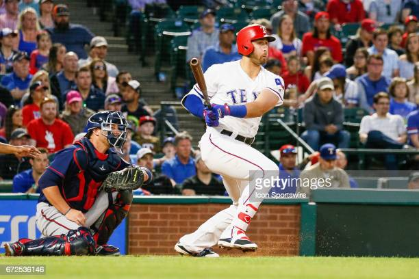 Texas Rangers Infield Joey Gallo gets a hit during the MLB game between the Minnesota Twins and Texas Rangers on April 24 2017 at Globe Life Park in...