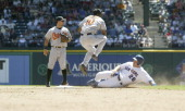 Texas Rangers Kevin Mench is forced out second as Orioles Miguel Tejada completes a 463 double play of the 76 win over the Texas Rangers at...