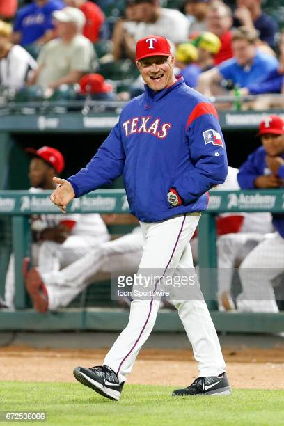 Texas Rangers Manager Jeff Banister glares at the umpire during the MLB game between the Minnesota Twins and Texas Rangers on April 24 2017 at Globe...