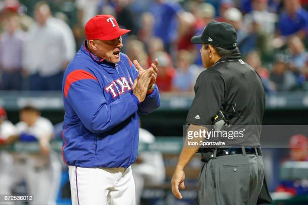Texas Rangers Manager Jeff Banister is ejected by Home Plate Umpire Alfonso Marquez after arguing balls and strikes during the MLB game between the...