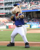 Texas Rangers mascot Captain before the game between the Los Angeles Angels of Anaheim and the Texas Rangers at Globe Life Park in Arlington on July...