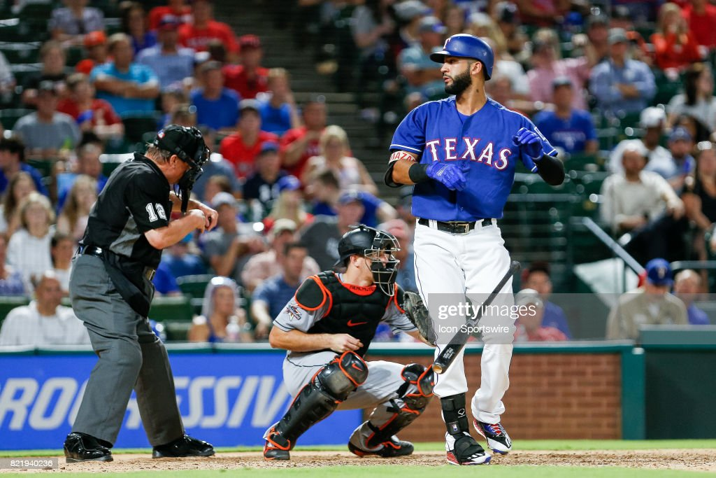 Texas Rangers Outfield Nomar Mazara (30) throws his bat down after he's called out looking during the MLB game between the Miami Marlins and Texas Rangers on July 24, 2017 at Globe Life Park in Arlington, TX. Miami defeats Texas 4-0.
