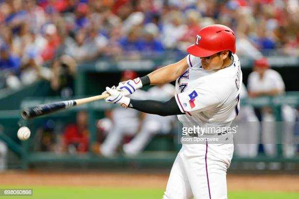 Texas Rangers Outfield ShinSoo Choo gets an infield hit during the MLB game between the Toronto Blue Jays and Texas Rangers on June 19 2017 at Globe...