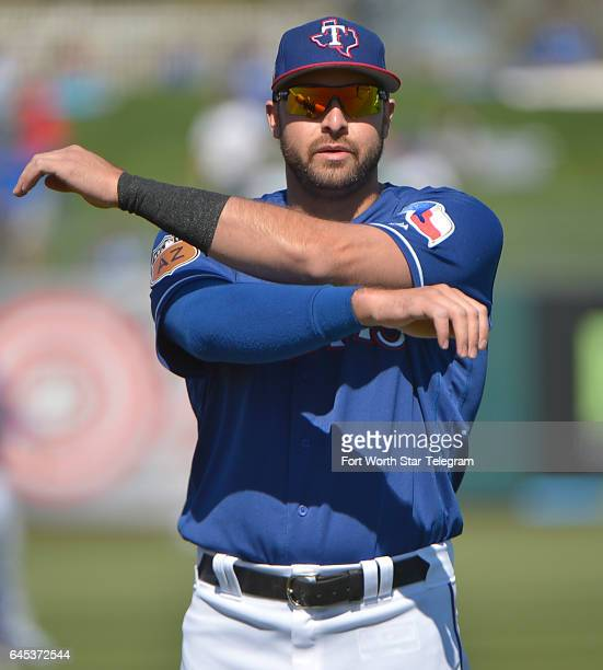 Texas Rangers outfielder Joey Gallo stretching before a spring training game against the Kansas City Royals in Surprise Ariz on Saturday Feb 25 2017