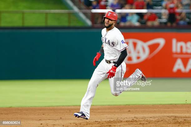 Texas Rangers outfielder Nomar Mazara rounds 2nd base during the MLB game between the Toronto Blue Jays and Texas Rangers on June 19 2017 at Globe...