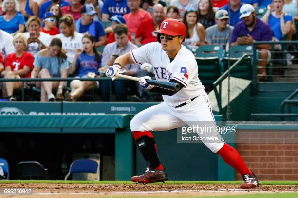 Texas Rangers outfielder ShinSoo Choo attempts a bunt during the MLB game between the Toronto Blue Jays and Texas Rangers on June 19 2017 at Globe...