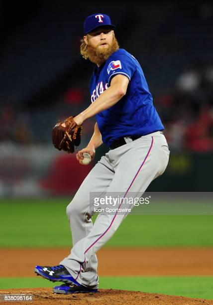 Texas Rangers pitcher Andrew Cashner in action during the second inning of a game against the Los Angeles Angels of Anaheim on August 23 played at...