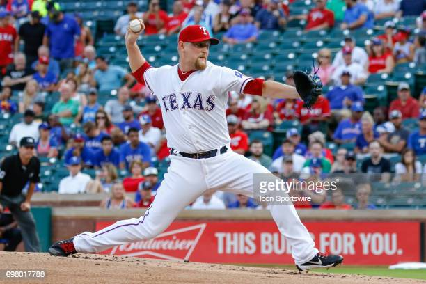 Texas Rangers Pitcher Austin BibensDirkx throws during the MLB game between the Toronto Blue Jays and Texas Rangers on June 19 2017 at Globe Life...