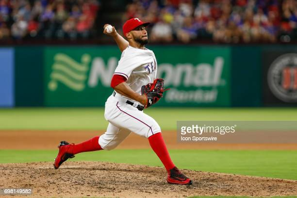 Texas Rangers pitcher Dario Alvarez comes on in relief during the MLB game between the Toronto Blue Jays and Texas Rangers on June 19 2017 at Globe...