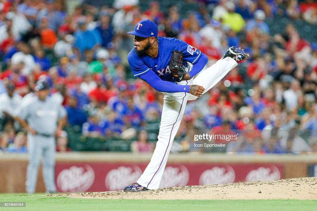 Texas Rangers Pitcher Jeremy Jeffress (23) comes on in relief during the MLB game between the Miami Marlins and Texas Rangers on July 24, 2017 at Globe Life Park in Arlington, TX. Miami defeats Texas 4-0.