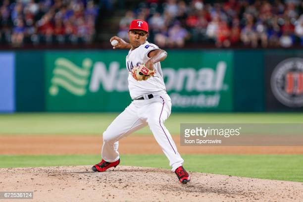 Texas Rangers Pitcher Jose Leclerc comes on in relief during the MLB game between the Minnesota Twins and Texas Rangers on April 24 2017 at Globe...