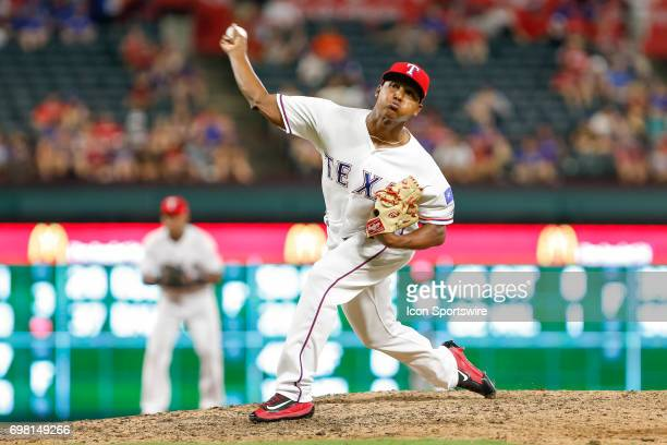 Texas Rangers Pitcher Jose Leclerc comes on in relief during the MLB game between the Toronto Blue Jays and Texas Rangers on June 19 2017 at Globe...