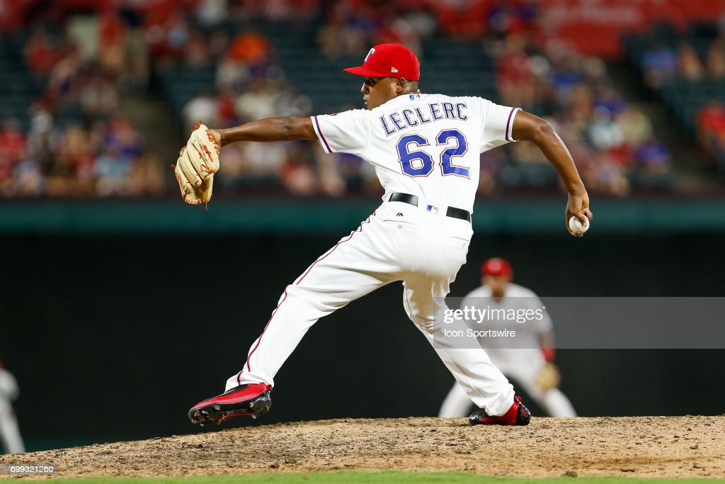 Texas Rangers Pitcher Jose Leclerc (62) comes on in relief during the MLB game between the Toronto Blue Jays and Texas Rangers on June 19, 2017 at Globe Life Park in Arlington, TX. Toronto defeats Texas 7-6.