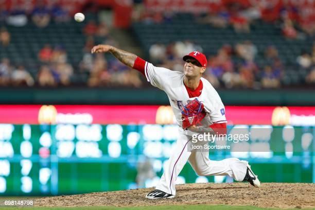 Texas Rangers pitcher Matt Bush blows a save opportunity during the MLB game between the Toronto Blue Jays and Texas Rangers on June 19 2017 at Globe...