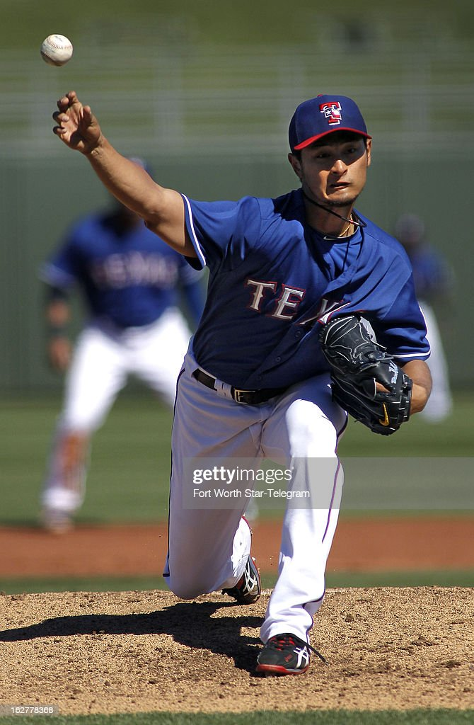 Texas Rangers pitcher Yu Darvish makes his 2013 spring training debut against the Chicago White Sox in Surprise, Arizona, Tuesday, February 26, 2013. Darvish worked two innings, as the White Sox beat the Texas Rangers 14-8.