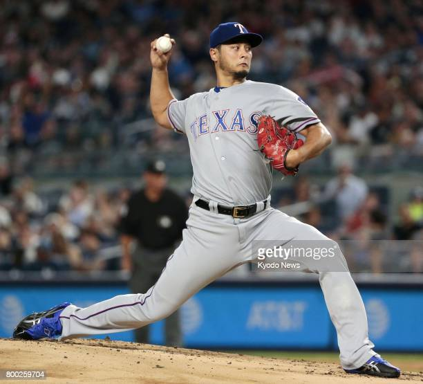 Texas Rangers pitcher Yu Darvish starts a game against the New York Yankees at Yankee Stadium in New York on June 23 2017 Darvish was pulled after...