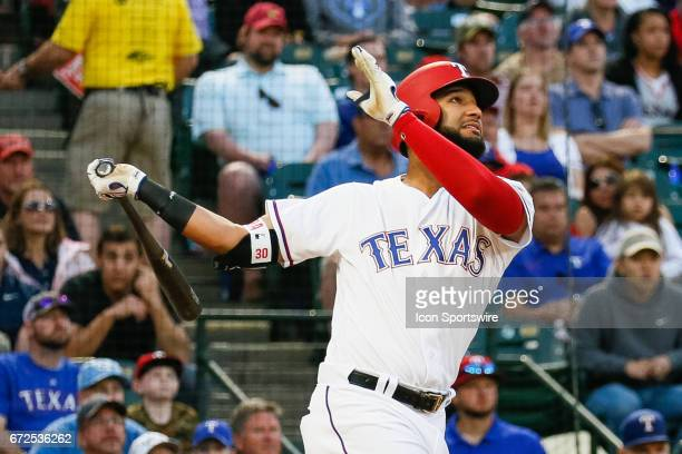 Texas Rangers Right field Nomar Mazara swings during the MLB game between the Minnesota Twins and Texas Rangers on April 24 2017 at Globe Life Park...