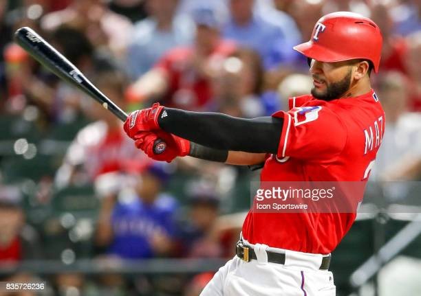 Texas Rangers right fielder Nomar Mazara connects with a home run during the MLB game between the Chicago White Sox and Texas Rangers on August 17...