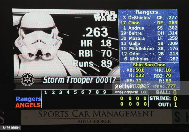 Texas Rangers right fielder ShinSoo Choo appears on the Los Angels Angels scoreboard as a Storm Trooper during his at bat on Star Wars night in the...