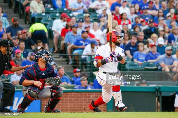 Texas Rangers Second base Rougned Odor hits a double and gets an RBI during the MLB game between the Minnesota Twins and Texas Rangers on April 24...