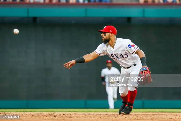 Texas Rangers Second base Rougned Odor tosses to second base during the MLB game between the Minnesota Twins and Texas Rangers on April 24 2017 at...