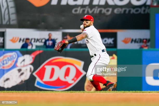 Texas Rangers Second base Rougned Odor winds to throw during the MLB game between the Minnesota Twins and Texas Rangers on April 24 2017 at Globe...