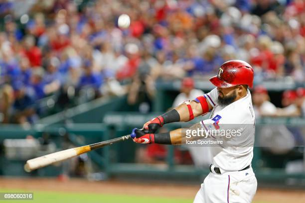 Texas Rangers second baseman Rougned Odor fouls off a pitch during the MLB game between the Toronto Blue Jays and Texas Rangers on June 19 2017 at...