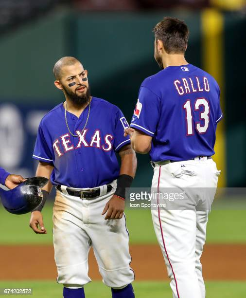 Texas Rangers second baseman Rougned Odor looks to be unhappy with Joey Gallo during the MLB game between the Minnesota Twins and Texas Rangers on...