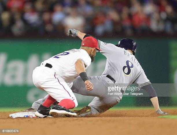 Texas Rangers second baseman Rougned Odor tags Milwaukee Brewers left fielder Ryan Braun on a steal at second on Monday Sept 26 2016 at Globe Life...
