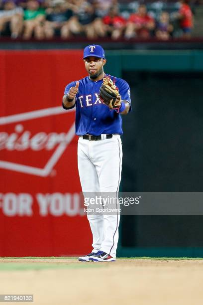 Texas Rangers Shortstop Elvis Andrus gives the thumbs up during the MLB game between the Miami Marlins and Texas Rangers on July 24 2017 at Globe...