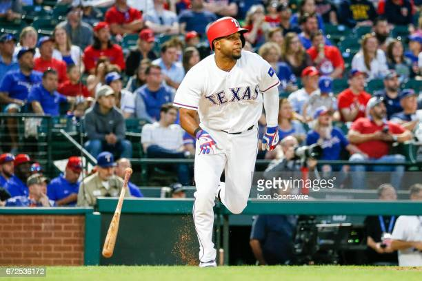 Texas Rangers Shortstop Elvis Andrus hits a single during the MLB game between the Minnesota Twins and Texas Rangers on April 24 2017 at Globe Life...