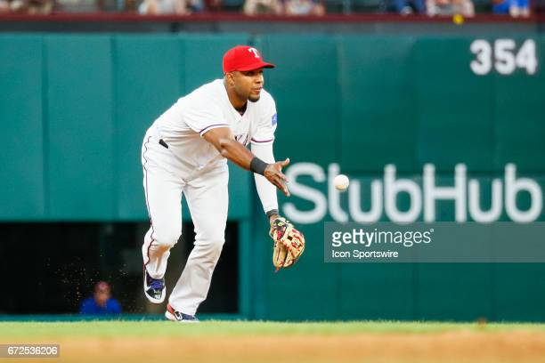 Texas Rangers Shortstop Elvis Andrus tosses to 2nd base during the MLB game between the Minnesota Twins and Texas Rangers on April 24 2017 at Globe...