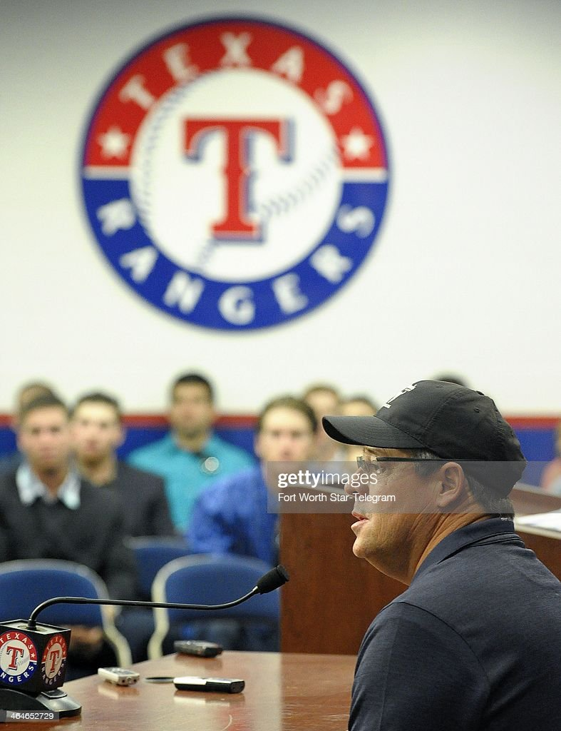 Texas Rangers Special Assistant Greg Maddux talks about his selection to the Baseball Hall of Fame during a news conference at Rangers Ballpark in Arlington, Texas, Thursday, Jan. 23, 2014.