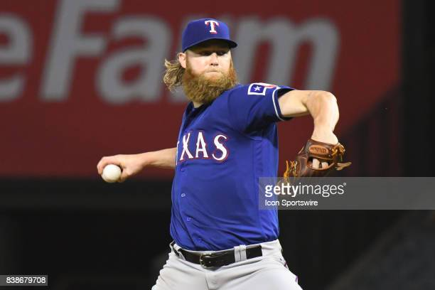 Texas Rangers Starting pitcher Andrew Cashner throws a pitch during an MLB game between the Texas Rangers and the Los Angeles Angels of Anaheim on...