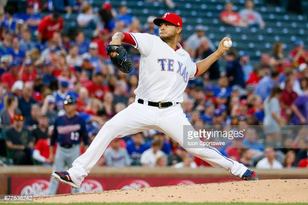 Texas Rangers Starting pitcher Martin Perez pitches during the MLB game between the Minnesota Twins and Texas Rangers on April 24 2017 at Globe Life...
