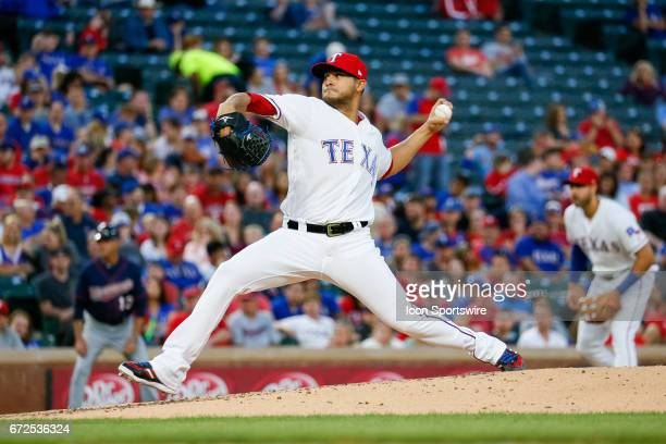 Texas Rangers Starting pitcher Martin Perez throws a pitch during the MLB game between the Minnesota Twins and Texas Rangers on April 24 2017 at...