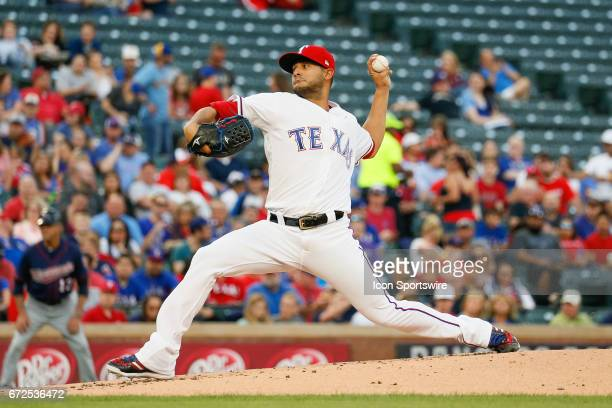 Texas Rangers Starting pitcher Martin Perez throws during the MLB game between the Minnesota Twins and Texas Rangers on April 24 2017 at Globe Life...