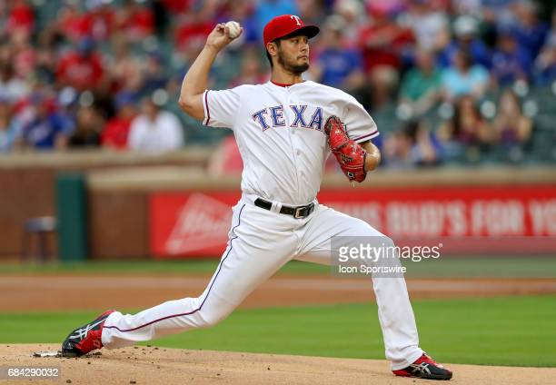 Texas Rangers starting pitcher Yu Darvish delivers a pitch during the MLB game between the Philadelphia Phillies and Texas Rangers on May 16 2017 at...