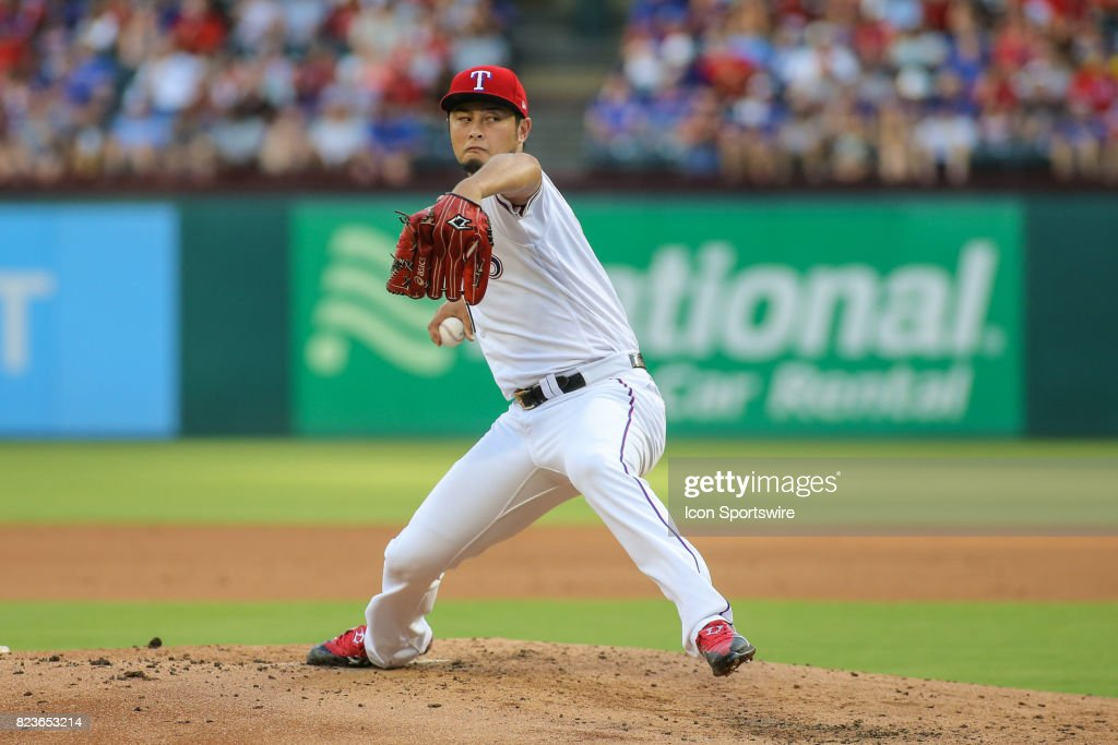 Texas Rangers starting pitcher Yu Darvish (11) delivers a pitch during the game between the Miami Marlins and the Texas Rangers on July 26, 2017, at Globe Life Park in Arlington, TX.