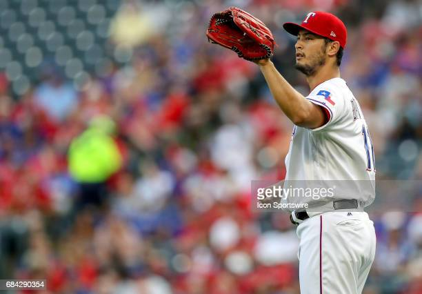 Texas Rangers starting pitcher Yu Darvish gets ready to pitch during the MLB game between the Philadelphia Phillies and Texas Rangers on May 16 2017...