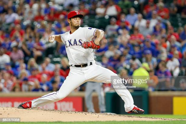 Texas Rangers Starting pitcher Yu Darvish pitches during the MLB game between the San Diego Padres and Texas Rangers on May 10 2017 at Globe Life...