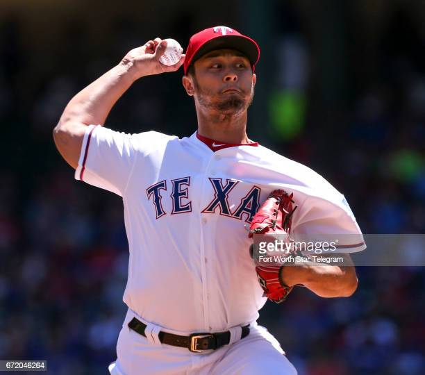 Texas Rangers starting pitcher Yu Darvish works the first inning against the Kansas City Royals on Sunday April 23 2017 at Globe Life Park in...