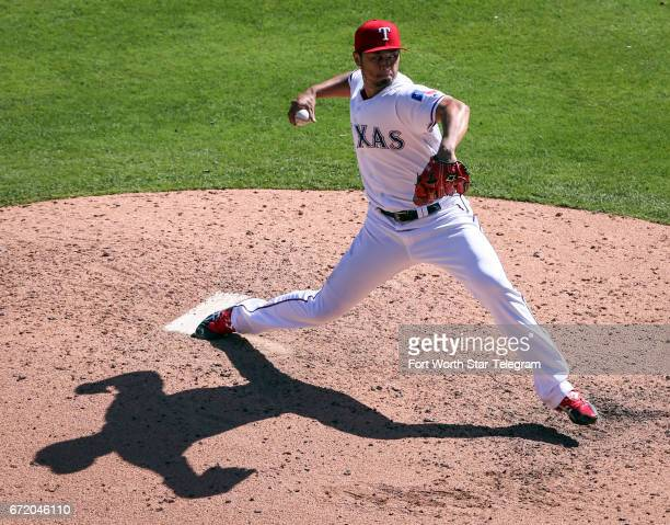Texas Rangers starting pitcher Yu Darvish works the seventh inning agaisnt the Kansas City Royals on Sunday April 23 2017 at Globe Life Park in...