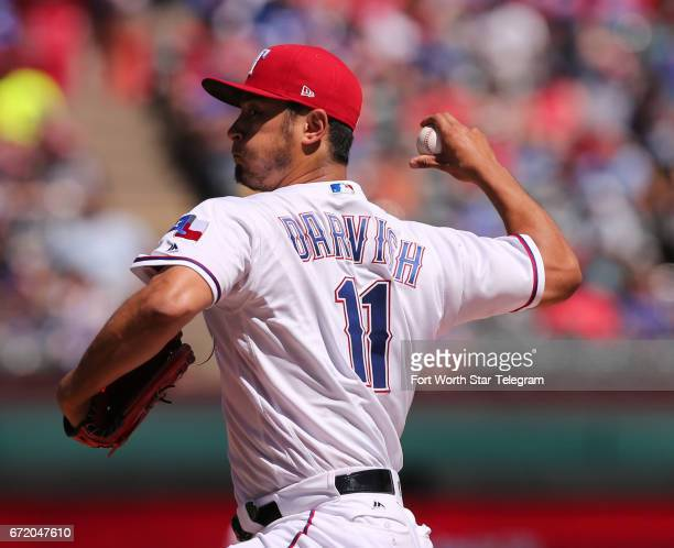 Texas Rangers starting pitcher Yu Darvish works the third inning against the Kansas City Royals on Sunday April 23 2017 at Globe Life Park in...