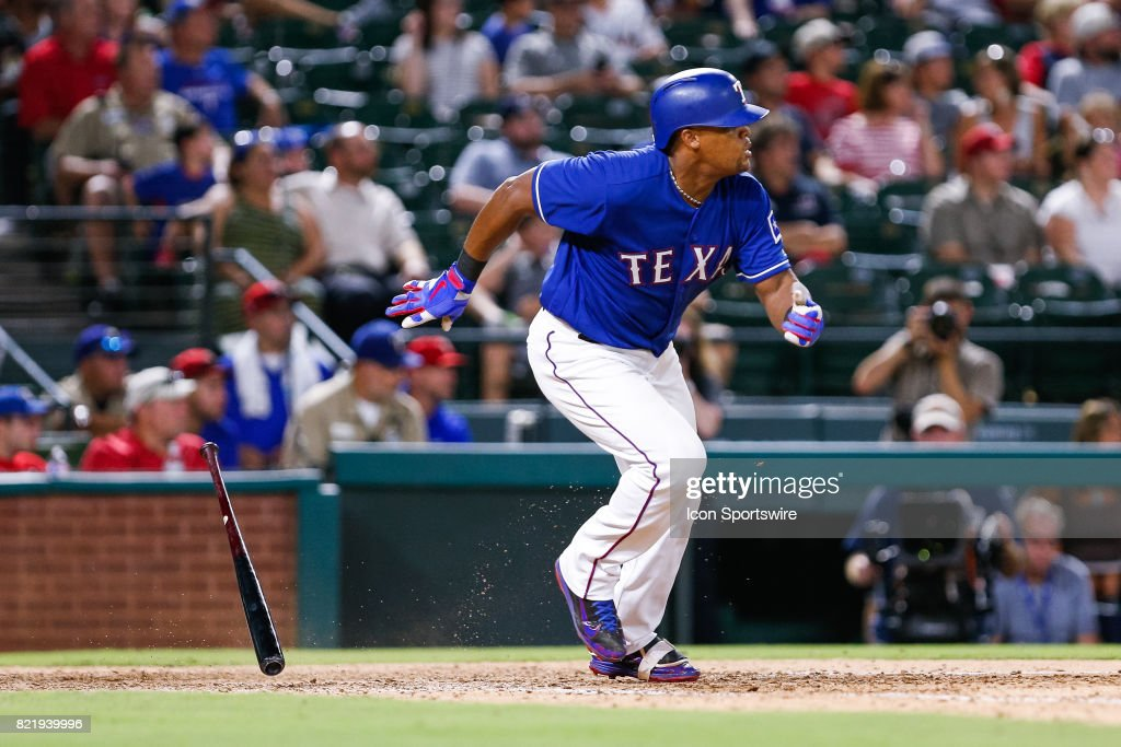 Texas Rangers Third base Adrian Beltre (29) hits his 4th single of the night during the MLB game between the Miami Marlins and Texas Rangers on July 24, 2017 at Globe Life Park in Arlington, TX. Miami defeats Texas 4-0.