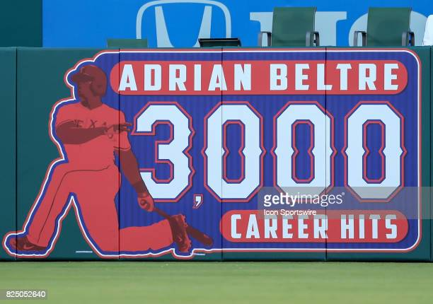 Texas Rangers third baseman Adrian Beltre has a banner in the outfield for his 3000th hit during the MLB game between the Seattle Mariners and Texas...